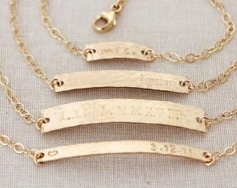 Gold Nameplate Bracelet, Gold Bar Bracelet, Custom Name ID Bracelet, Personalized 14k Gold Filled