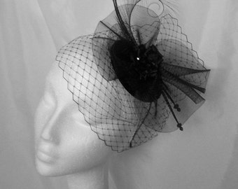 Black Vintage Gothic Veiled Fascinator - Curl Feather Veil & Crinoline Wedding Fascinator Percher Mini Hat Ascot Derby - Made to Order