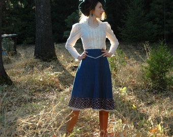 Size Medium...Denim Prairie Skirt... Gunne Sax Inspired Style... Adorable Ruffled Hem