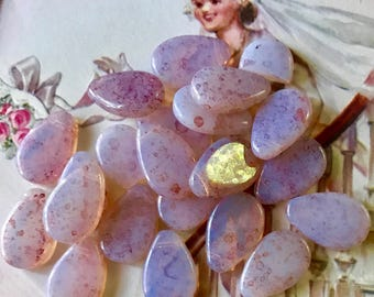 Vintage Pink Opal Beads Glass Drops Dangles Teardrop NOS 12x18 Top Drilled,T Drilled, Harlequin beads, shabby Chic Beads #625A