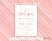 Pink Twinkle Twinkle Little Star Editable Baby Shower Invitation, Girl Baby Shower Invite, Pink Gold Glitter - EDiTABLE PDF INSTANT DOWNLOAD