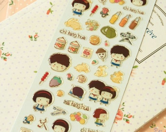 Red Childhood Memories Puffy scrapbooking diary stickers