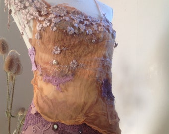 Summer bliss,  sheer silk and wool top fractal wings, tattered forest faerie pixie clothing