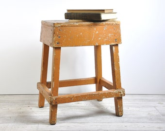 Painted Vintage Wood Stool, Primitive Step Stool, Wooden Bench, Rustic Plant Stand