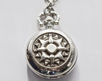 Compass Pocket Watch Necklace Locket Silver Nautical Steampunk Earrings Unique Vintage Wedding Anniversary Birthday Winter Christmas gift