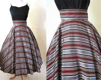 Dramatic 1950's Silk Satin Striped Full Circle Skirt with Wide Waistband Vintage Cocktail Skirt Rockabilly VLV Pinup Girl Size-Medium