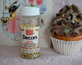GOLD CREST DRAGEES Fancy Decor Cake Cookie Cupcake Sprinkles Bottle Jar Baking Cooking Kitchen Spice Beads Retro 1950s Baker Kitchen Display