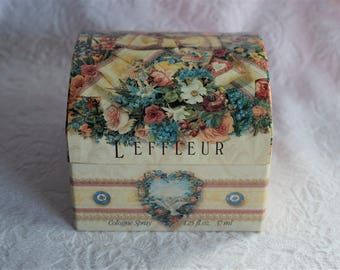 Vintage L'EFFLEUR COTY Perfume BOX Victorian Ephemera Paper Cover Boy Girl Gift Flower Floral Ribbon Bow Lace Chest Cologne Container Empty