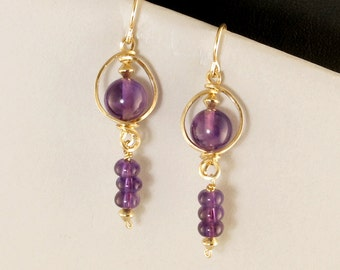 Ultra Violet Amethyst Gemstone Gold Dangle Earrings, Unique Gold Wire Wrapped Purple Earrings, Real Amethyst Earrings