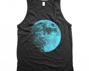 moon tank top - unisex blue moon tank top - Cotton tank top - Black tank top - UNISEX - Small, Medium, Large, XL, 2XL