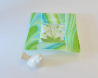 Flower Garden // Fused Glass Dish // Lily of the Valley // Snowdrops // Summer // Sunshine // Bright// Cheerful// Fun //Trinket// Blue/Green