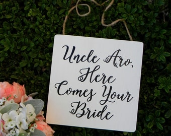 Here Comes Your Bride Sign Rustic Wood White Wedding Sign Wood Square Flower Girl Sign Ring Bearer Sign Shabby Chic Woodland Wedding
