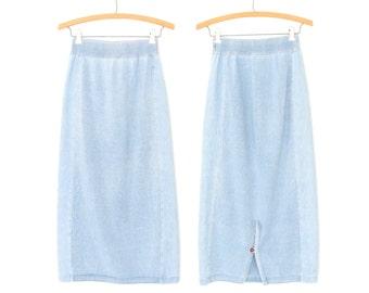 80s Pencil Skirt * Vintage Denim Knit Skirt * Chambray Skirt * Small