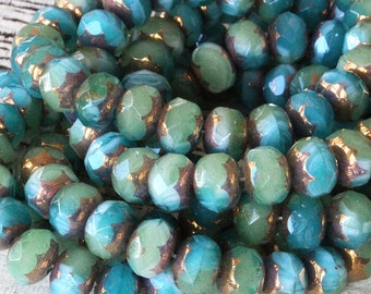 9x6mm Rondelle Beads - Czech Glass Beads - Jewelry Making Supplies - Firepolished Rondelle  With Bronze (10 or 25 bead strand)