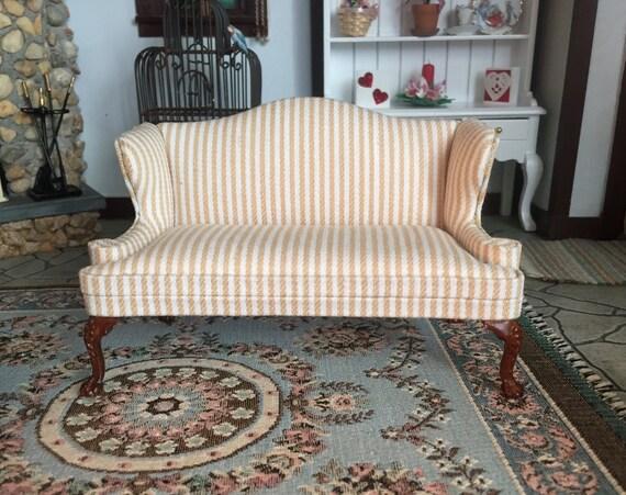 Miniature Love Seat, Queen Anne Style, Stripe Fabric, Walnut Legs, #6140, Platinum Collection, Dollhouse Miniature Furniture, 1:12 Scale