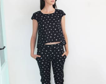 White print pants / black fitted pants / Slim fit trousers /summer skinny jeans / Polka dot casual pants / skinny jeans
