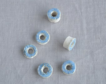 Six porcelain textured rondelle beads, soft blue glaze, large hole, 7mm hole, 8mm hole, 9mm hole, artisan beads, porcelain beads