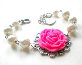 Jr Bridesmaid Gift Fuschia Wedding Jewelry Fuschia Bracelet Flower Girl Bracelet Spring Wedding Jewelry Little Girl Pearl Bracelet