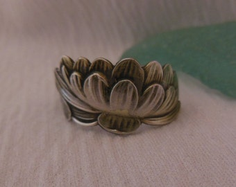 Silver and Gold Lotus  Antique Spoon Ring  Sterling Silver Size 7.25