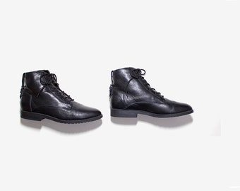 Vintage Ankle Boots 10 / Black Leather Boots / Lace Up Boots / Ankle Boots Women / Buckle Boots