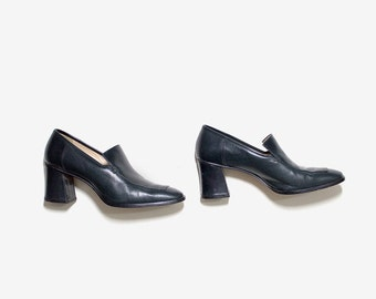 Vintage Leather Loafers 8 / Indigo Leather Loafers / High Heel Loafers / Minimal Shoes