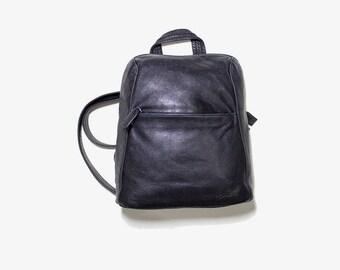 FLASH SALE Vintage Leather Backpack / Black Leather Backpack / Mini Leather Backpack /Leather Knapsack / Leather Shoulder Bag