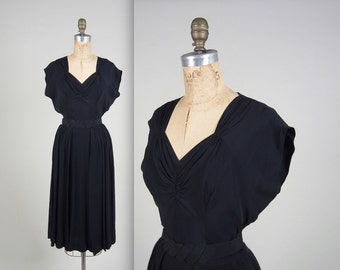 RESERVED RESERVED RESERVED * 1940s silk rayon dress • vintage 40s dress • black evening dress