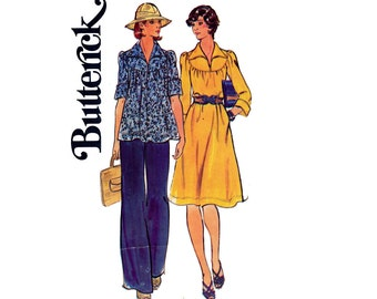 70s Round Neck Top & Boho Dress Pants Pattern Butterick 4126 Vintage Sewing Pattern Size 12 Bust 34 inches