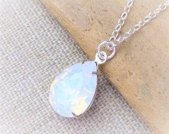 Opal Swarovski Crystal Necklace, Opal White Teardrop Sterling Silver Necklace, Bridesmaid Gifts, Bridal Jewelry, Crystal Pear Drop
