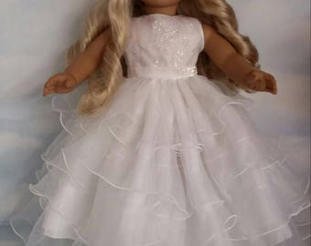 18 inch doll clothes - #235  White Ruffled Gown - Handmade to fit the American Girl Doll - Free Shipping in USA