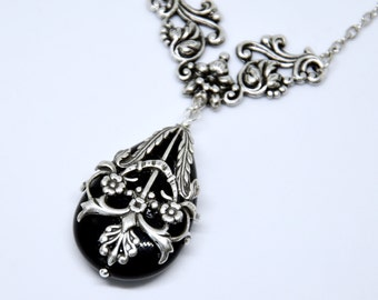 Antique Silver Filigree Necklace, Black Stone Teardrop Pendant Necklace, Black Lace Necklace, Filigree Wrapped Art Necklace, Victorian Style