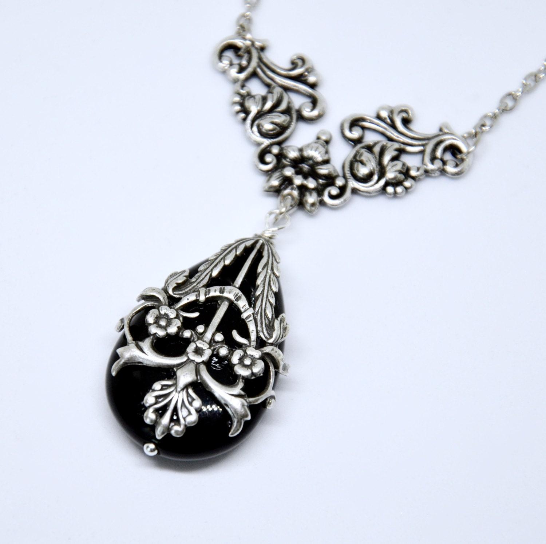 antique silver filigree necklace black teardrop pendant
