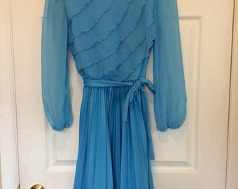 Blue Sheer Ruffle Dress Vintage 70s Spring Pleated S XS