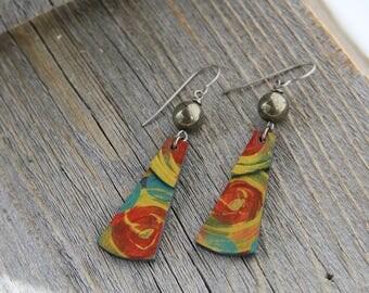 KESTREL  / Wood Earrings / Women's Jewelry / Gifts For Her / Sustainable / Earrings / Acrylic Painting / Art / Art Jewelry