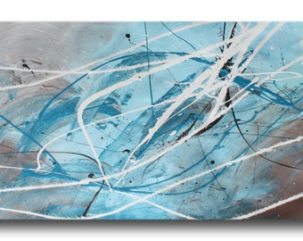 1 ABSTRACT CANVAS PAINTING  turquoise  white Artwork wall art