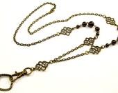Women's Fashion ID Badge Holder Lanyard Necklace with Pearls and Exotic Accents