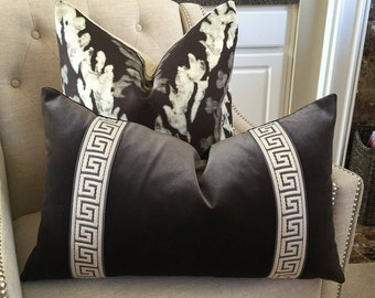 """Schumacher Sophia velvet pillow cover in graphite - 16""""X26"""" with attached greek key trim in grey/ivory"""
