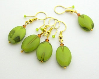 Removable Bead Knitting / Crocheting Stitch Markers - Set of 5 Handmade Stitch Markers - Olive Green