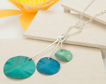 Water Lilies – Silver and Anodized Aluminum Tassel Necklace by Mandy Allen, Metal Arts