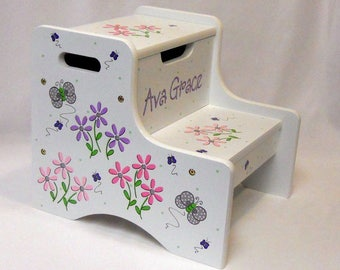 Large Personalized Two Step Stool Daisies Flowers in Pink and Purple with Gray Butterflies