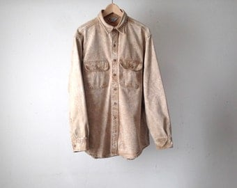 vintage CARHARTT tan faded vintage PACIFIC northwest COTTON button up shirt