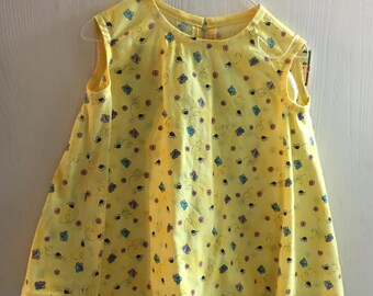 Handmade Yellow Baby Tent Dress Size 2 Butterflies Flowers Bees