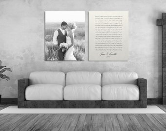 1st Anniversary Gift, 1 Year Anniversary Gift, One Year Anniversary Gift, Gift For Her or Him, Picture And Vows Or Lyrics On Canvas