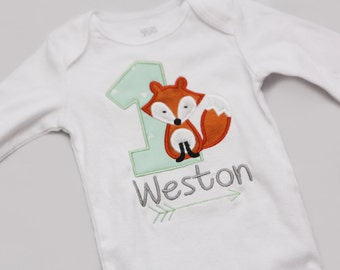 Fox and Arrow First Birthday Shirt - Mint and Grey - Tribal