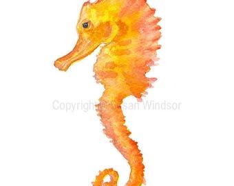 Seahorse Watercolor Painting - 8x10 / 8.5x11 - Orange Coral Sea Life Watercolor - Wall Art