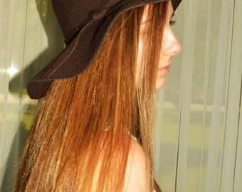 brown fedora hat, women's brown felt hat, brown felt hat, womens felt resort hat, womens cruise hat, brown felt fedora hat, brown fedora