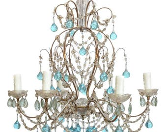 ITALIA crystal chandelier wrought iron Murano clear blue glass drops, birdcage crystal chandelier