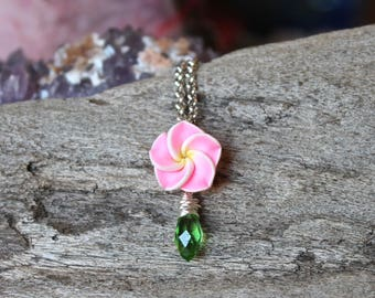 Pink Plumeria Necklace - Tropical Style - Island Jewelry - Plumeria Jewelry - Pink Flower Necklace - Hawaiian Jewelry - Bridesmaid Necklace