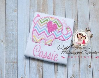 Girl Elephant Shirt - Girl Whimsical Elephant Shirt with hearts - Custom Elephant Shirt - Baby Girl Valentines Outfit - Pink Elephant Shirt