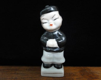"Vintage China Boy Figurine, Chinese Boy, Hand Painted Ceramic Figurine, Made in Japan, Collectable Knick Nack, 4"" High"